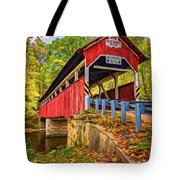 Lower Humbert Covered Bridge 2 - Paint Tote Bag