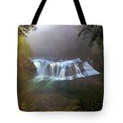 Lower Lewis Falls Foggy Morning Tote Bag