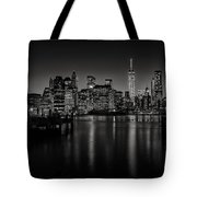Lower Manhattan From The Brooklyn Piers Tote Bag by Dick Wood
