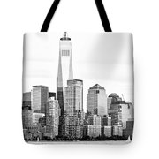 Lower Manhattan In Black And White Tote Bag