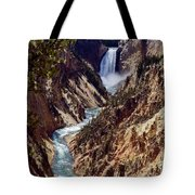 Lower Yellowstone Falls And River Tote Bag