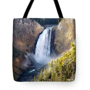 Lower Yellowstone Falls From Inspiration Point Tote Bag