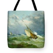 Lowestoft Trawler In Rough Weather Tote Bag