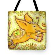 Lucky Elephant Orange Tote Bag