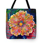 Lucky We Live Hibiscus Tote Bag