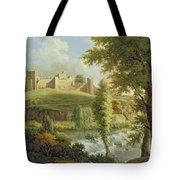 Ludlow Castle With Dinham Weir Tote Bag by Samuel Scott