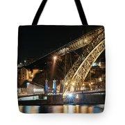 Bridge Dom Luis At Night. Porto Tote Bag