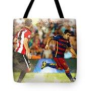 Luis Suarez Takes The Ball Past Athletic Bilbao's Eneko Boveda A Tote Bag