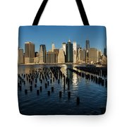 Luminous Blue Silver And Gold - Manhattan Skyline And East River Tote Bag