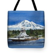 Lummi Island Ferry And Mt Baker Tote Bag