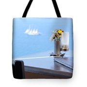Lunch Over Santorini Tote Bag