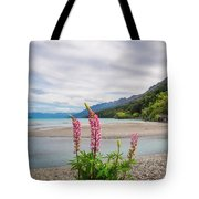 Lupin Flowers In Alpine Scenery At Kinloch, Nz. Tote Bag