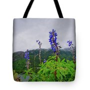 Lupine And Mountains Tote Bag