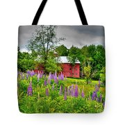 Lupines And The Red Barn Tote Bag