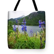 Lupines And Water Tote Bag