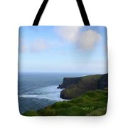 Lush Green Grass Along The Top Of The Cliffs Of Moher Tote Bag