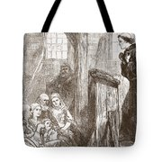 Luther Preaching In The Old Wooden Church At Wittemberg Tote Bag