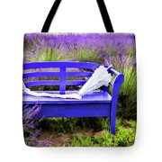 Luvin Lavender Farm Bench Tote Bag