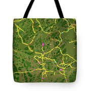Luxembourg Green Traffic Map, Abstract Europe Map Tote Bag