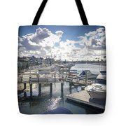 Luxury Boats Moored At Naples Island, Long Beach, Ca Tote Bag