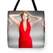Luxury Female Fashion Model In Classy Red Dress Tote Bag