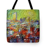 Lyon Sunrise Glow - Modern Impressionist Stylized Cityscape Tote Bag