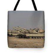 M1 Abrams Tanks At Camp Warhorse Tote Bag