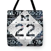 M22 Michigan Highway Symbol Recycled Vintage Great Lakes State License Plate Logo Art Tote Bag by Design Turnpike