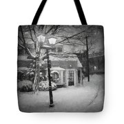 Mablehead Market Square Snowstorm Old Town Evening Black And White Painterly Tote Bag