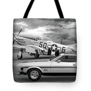 Mach 1 Mustang With P51 In Black And White Tote Bag