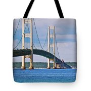Mackinac Bridge Tote Bag by Michael Peychich