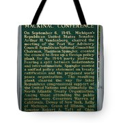 Mackinaw Conference Signage Mackinac Island Michigan Vertical Tote Bag
