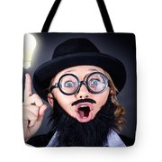 Mad Professor With Light Bulb Breakthrough Tote Bag