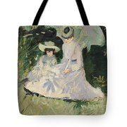Madame Helleu And Her Daughter At The Chateau Of Boudran Tote Bag by Paul Cesar Helleu