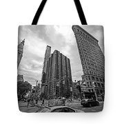 Madison Square Flatiron And Clock Tower New York Ny Black And White Tote Bag