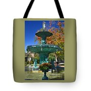 Madison Water Fountain In Fall Tote Bag