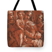 Madonna And Child Accompanied By Saints Tote Bag