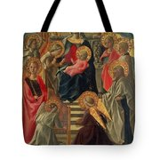 Madonna And Child Enthroned With Angels And Saints Tote Bag