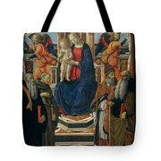 Madonna And Child Enthroned With Saints And Angels Tote Bag