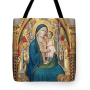 Madonna And Child Enthroned With Twelve Angels Tote Bag