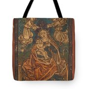 Madonna And Child Seated On A Grassy Bank With Angels Tote Bag