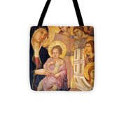 Madonna And Child Surrounded By Angels Tote Bag