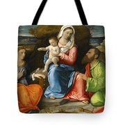 Madonna And Child With A Goldfinch With Saints Catherine And Paul Before An Extensive Landscape Tote Bag