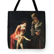 Madonna And Child With A Serpent Tote Bag by Michelangelo Merisi da Caravaggio