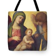 Madonna And Child With Angels Tote Bag
