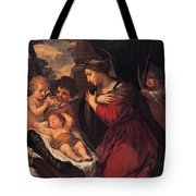 Madonna And Child With Child And Angles Tote Bag