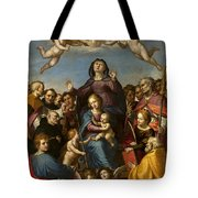 Madonna And Child With Saint Anne And The Patron Saints Of Florence Tote Bag