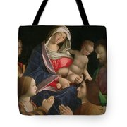 Madonna And Child With Saint John The Baptist Two Saints And Donors Tote Bag