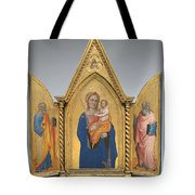 Madonna And Child With Saint Peter And Saint John The Evangelist [middle Panel] Tote Bag