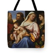 Madonna And Child With Saints And Donors Tote Bag